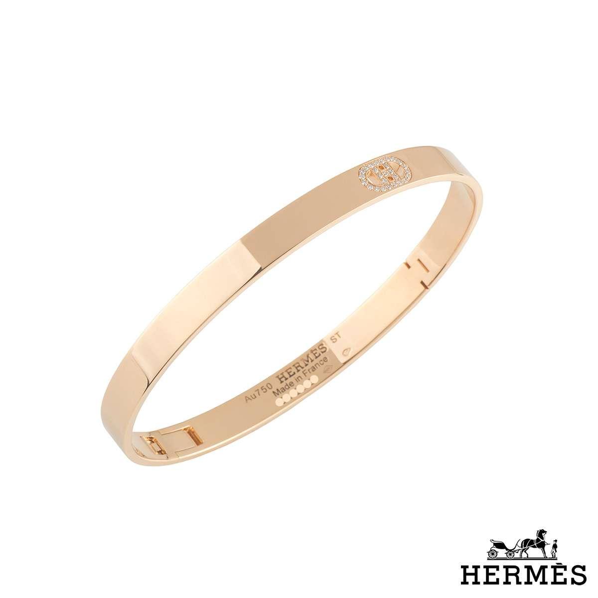 Hermes Rose Gold Diamond D Ancre Bangle 0.07ct F-G/VVS